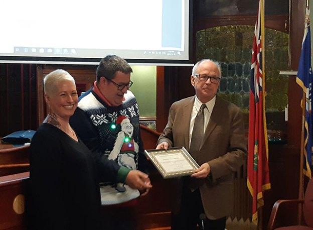 Tracy Kwissa. Kory Earle and Mayor Doug Black