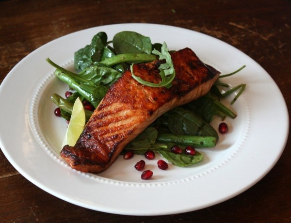 Salmon with Warm Spinach, Pomegranate, and Lime