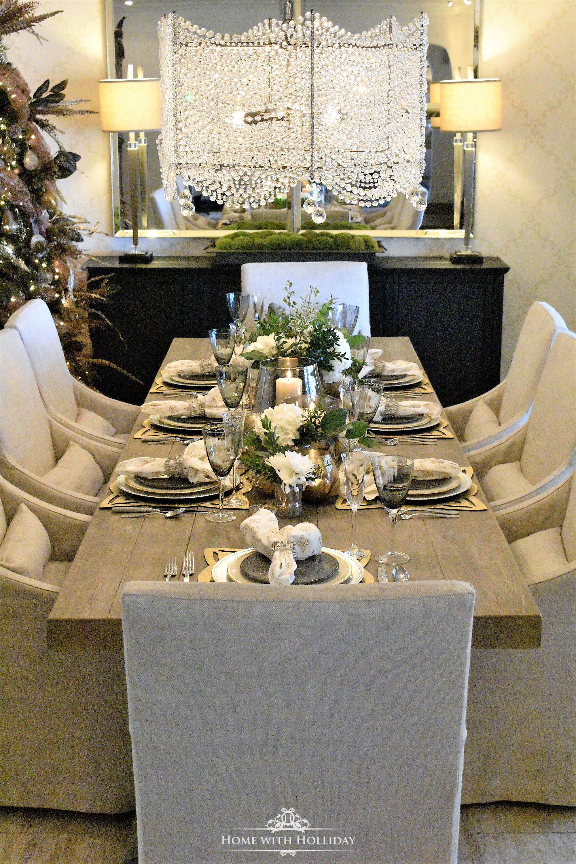 Gold and Silver Table Setting for New Year's Eve or Christmas