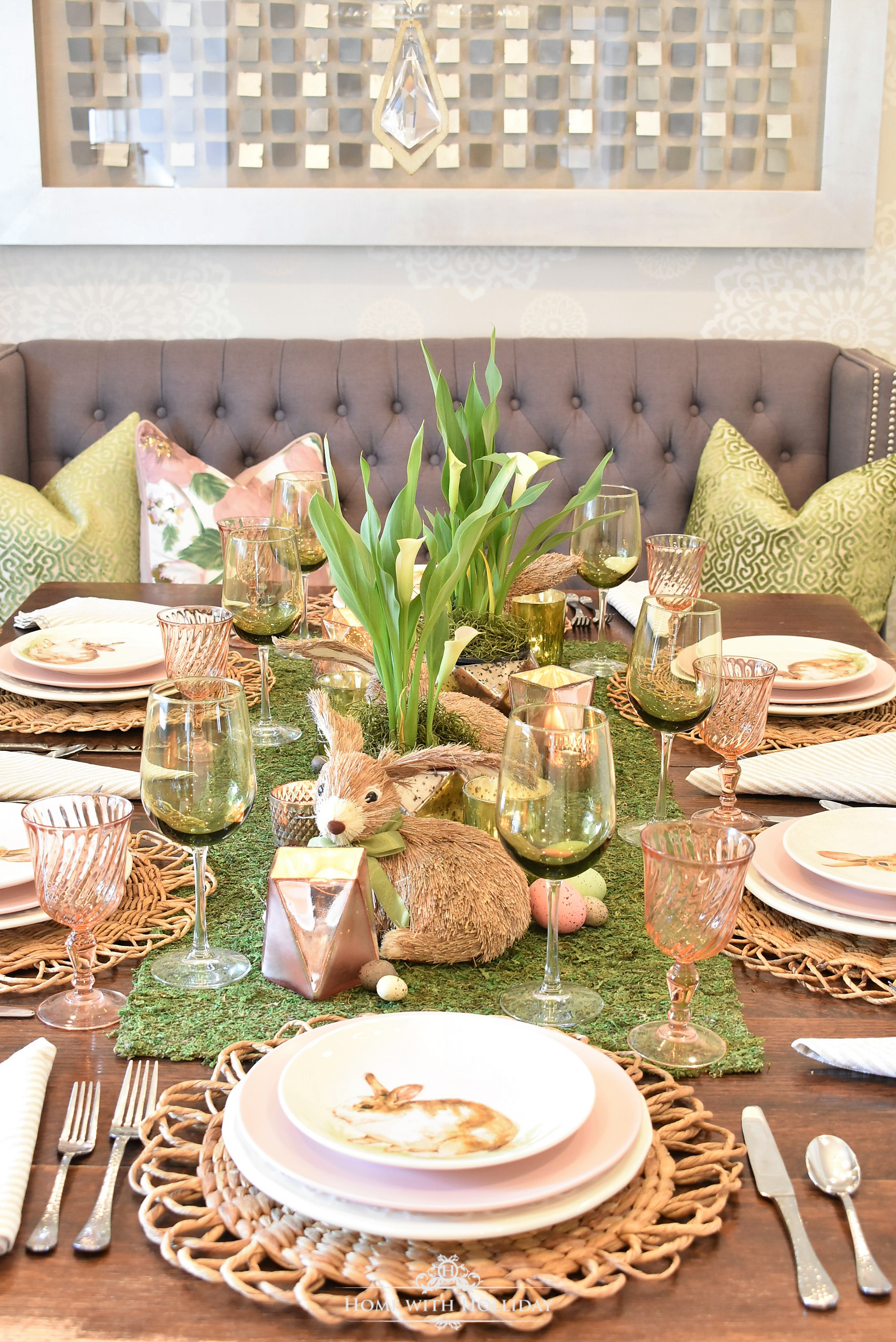 For the \u201cadult table\u201d I envisioned a clean fresh look so I settled on a green and white table setting. The green and white trellis napkins started it all ... & Green and White Easter Table Setting - Home with Holliday