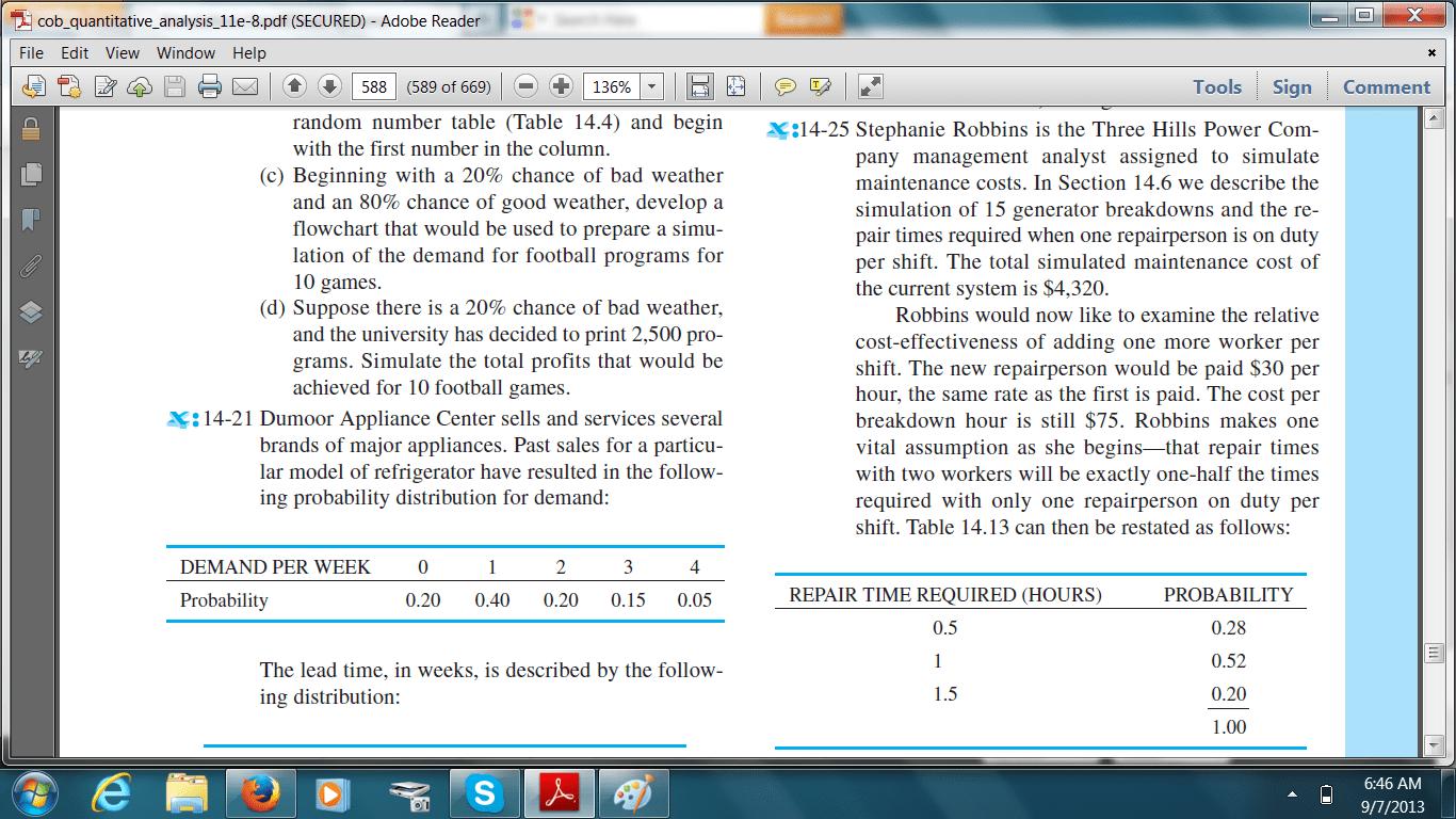 Quantitativeysis Problems Simulation