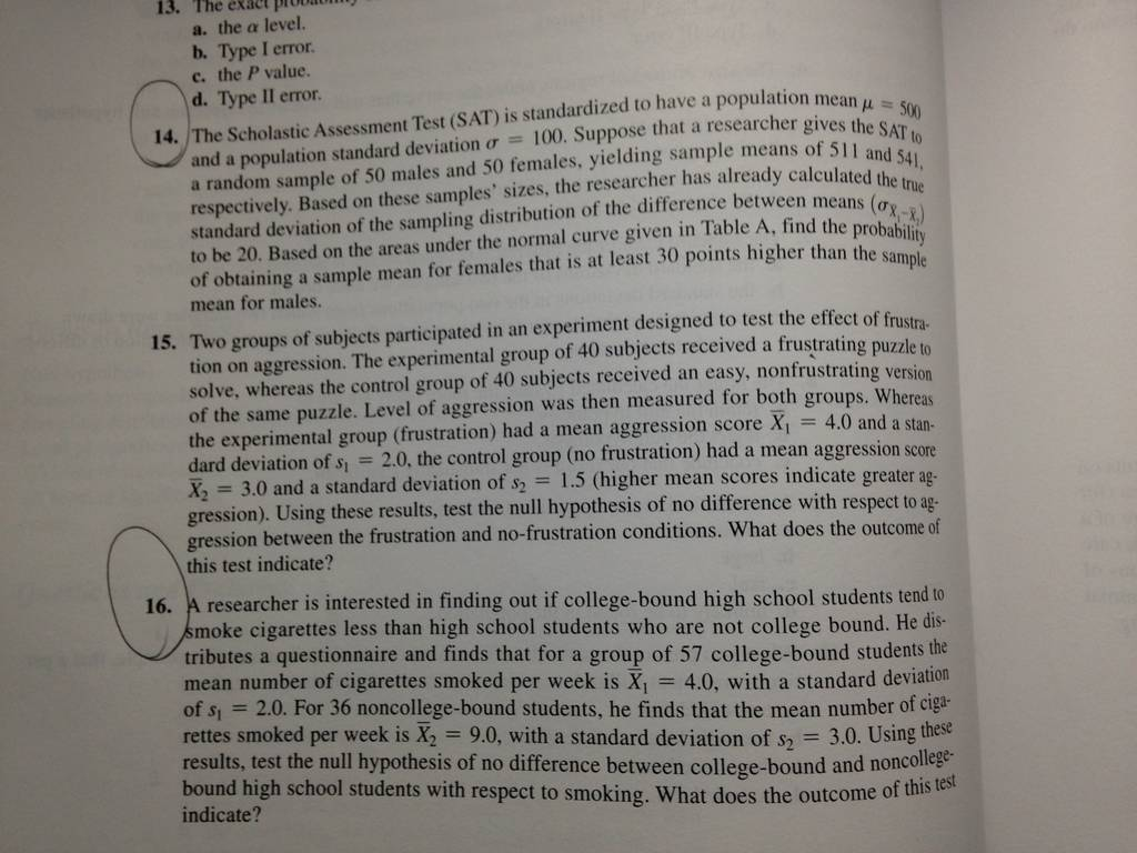 Hypothesis Testing Statistic Homework