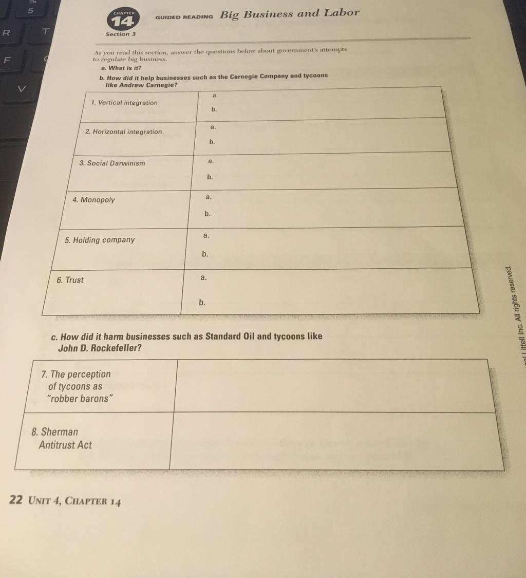U S History Worksheet