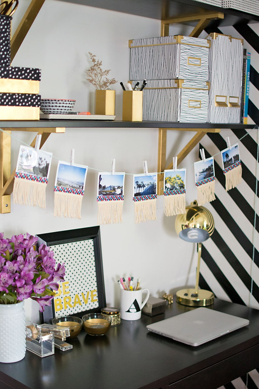 DIY Fringe Photo Garland, the perfect way to display your summer memories!