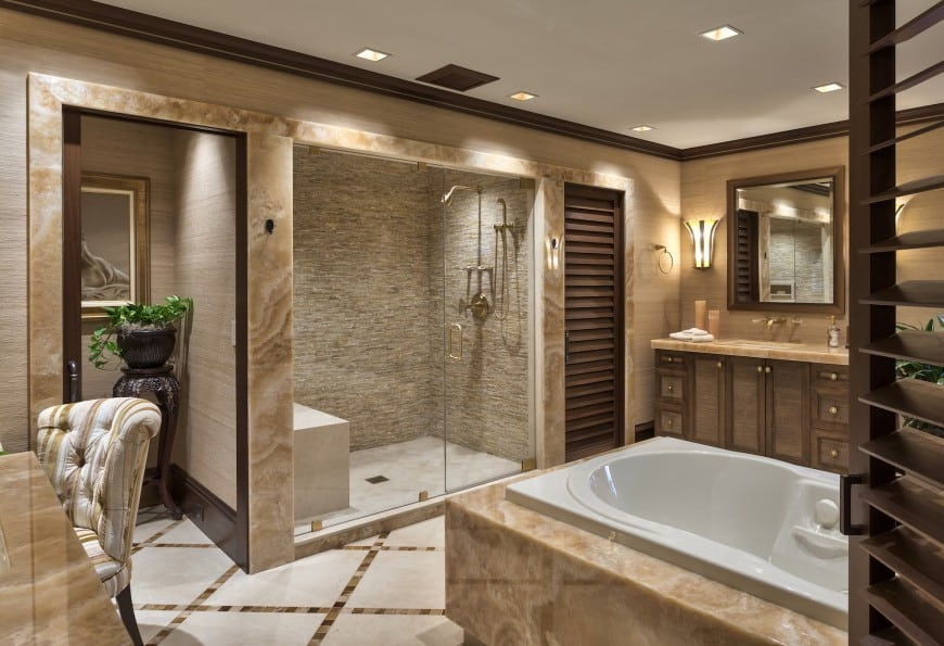 59 Luxury Modern Bathroom Design Ideas  Photo Gallery  This luxurious bathroom again features a Jacuzzi tub and a beautiful  accent walled shower area