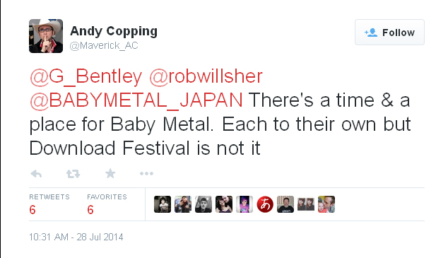 A screen capture of Andy Copping's tweet that said that Babymetal wouldn't be at Download UK