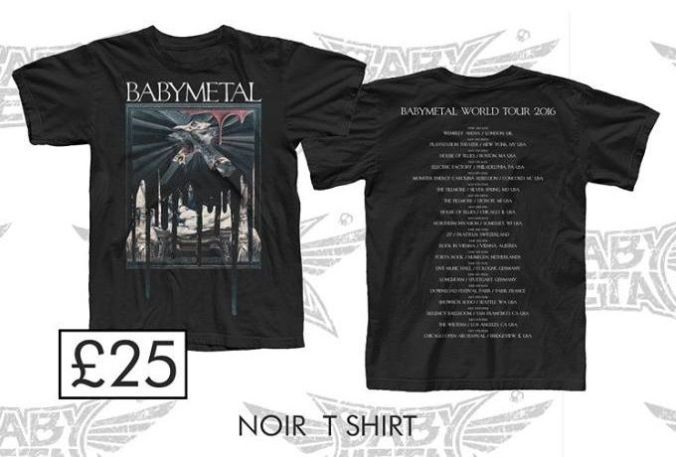Babymetal Trio Noir T-shirt from the 2016 World Tour