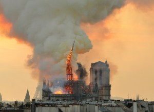 Notre Dame Cathedral on fire, 2019