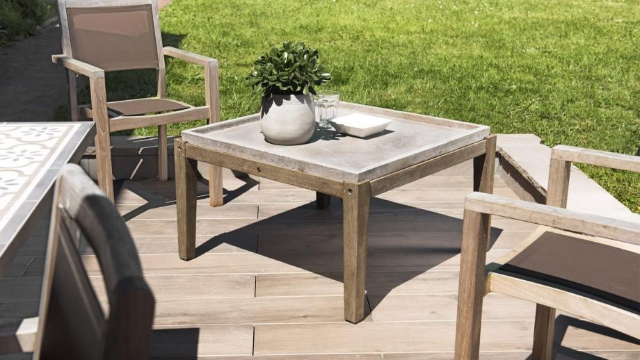 table basse de jardin carree beton 83x83 cm pieds en bois acacia collection victor