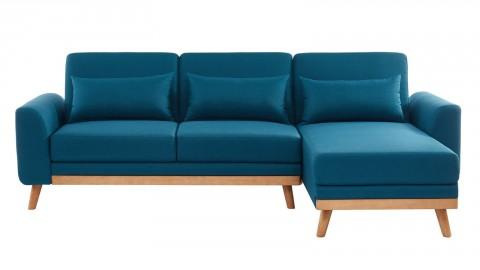 canape d angle scandinave convertible en tissu bleu avec couchage 110x210cm collection mathis