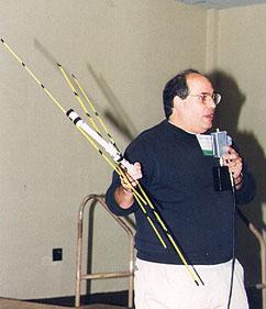 Joe Leggio with his steel-tape beam