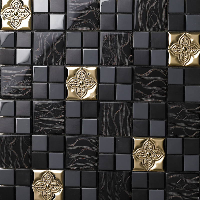 wholesale metallic backsplash tiles brown 304 stainless steel sheet metal and crystal glass mosaic wall decor 636