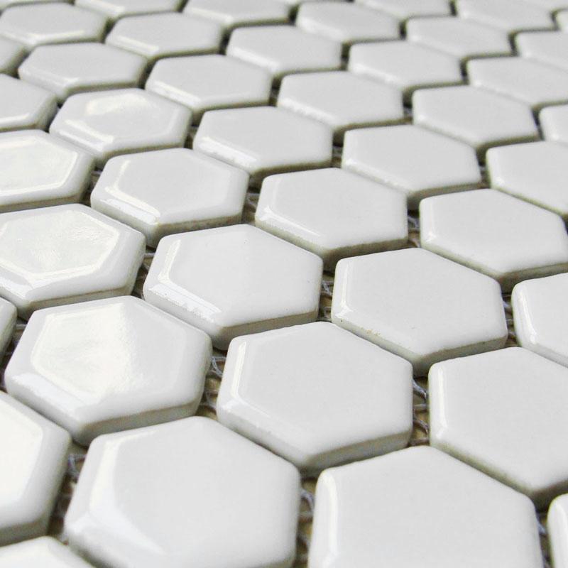 hexagon porcelain floor tiles white shiny mosaic glazed bathroom tile