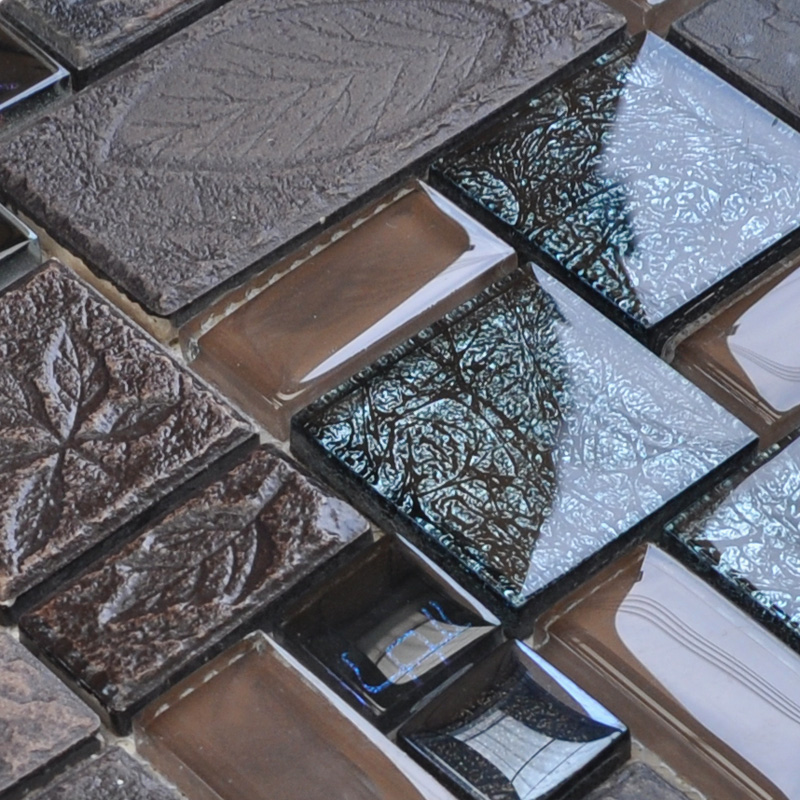 porcelain and glass tiles wall bathroom backsplash leaves patterns design mosaic tiles kitchen wall vg001