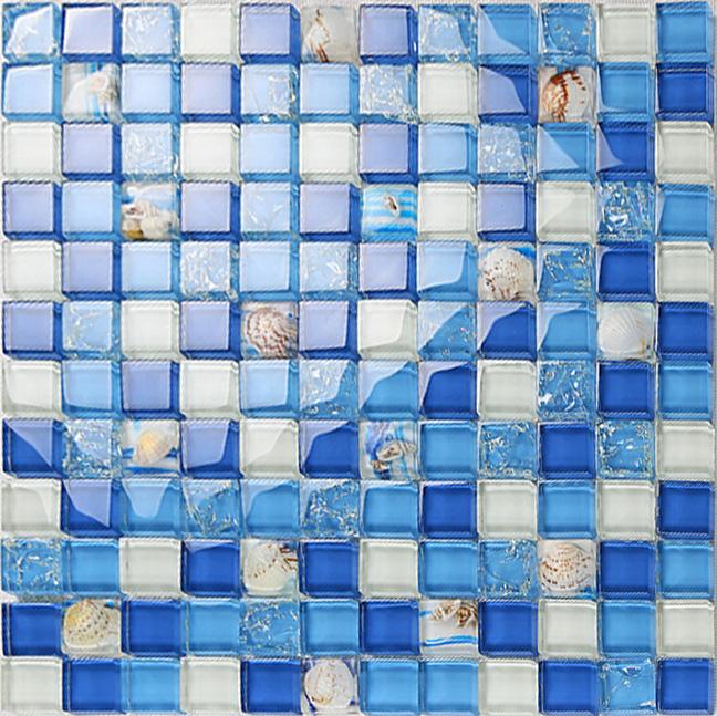 Blue Crystal Glass Tile Crackle Wall Tile Backsplshes