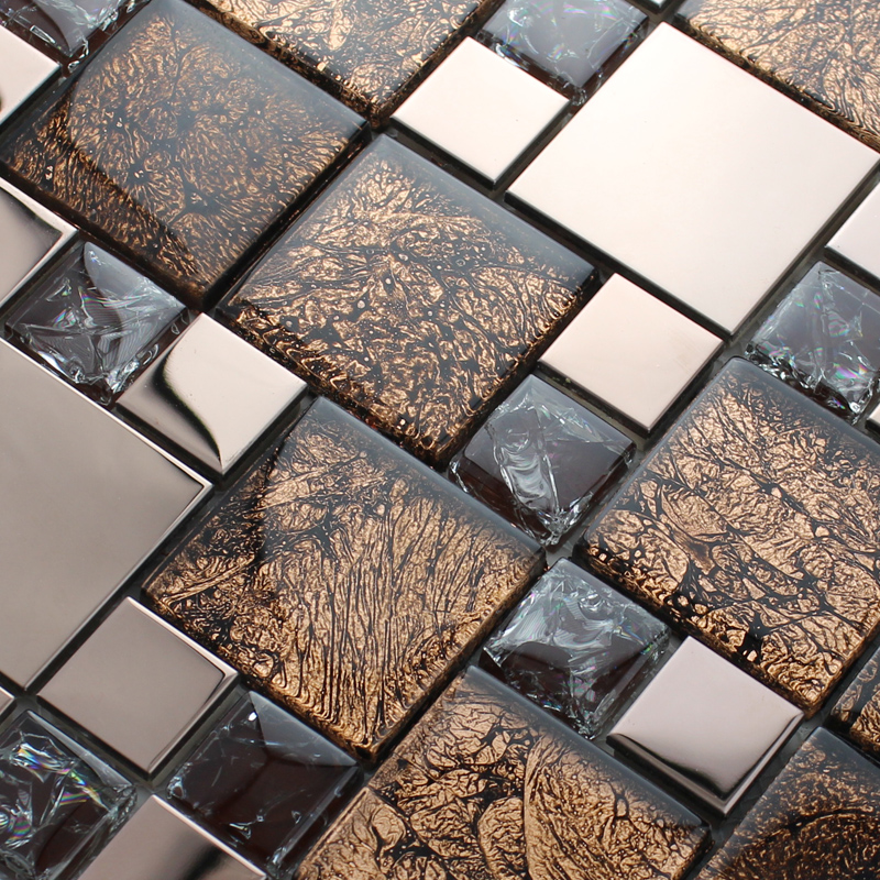 rose gold stainless steel metal mosaics crackle glass tile wall tiles