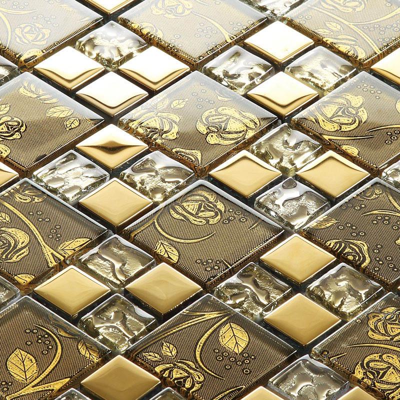 gold items crystal glass mosaic tile wall backsplashes tiles bedroom tile kitchen tile art sblt117