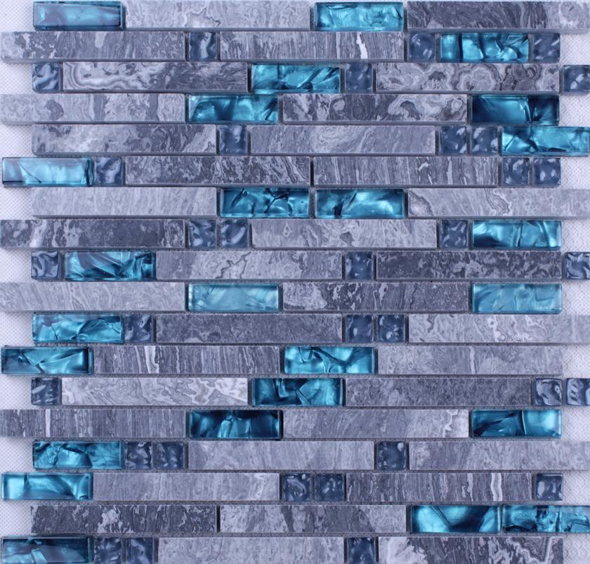 grey marble stone blue glass mosaic tiles backsplash kitchen wall tile