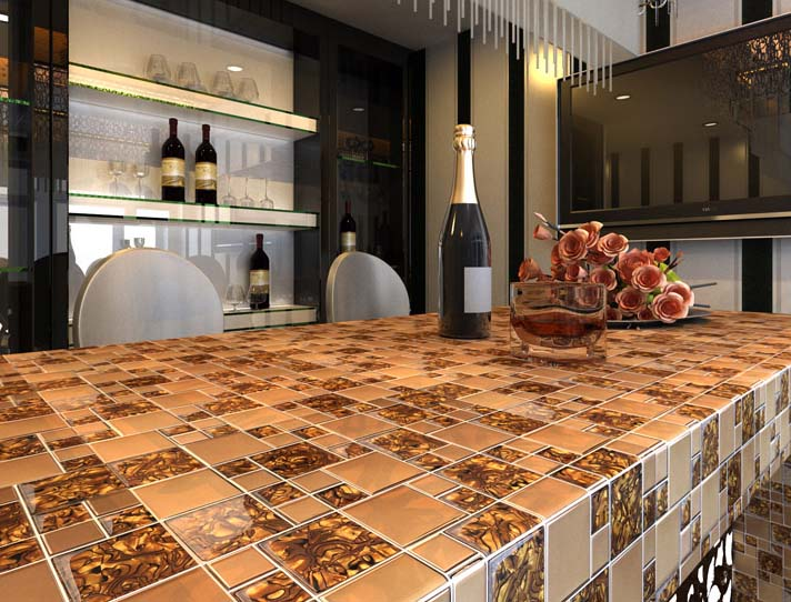 Gold Stainless Steel Wall Tile With Porcelain Base Metal