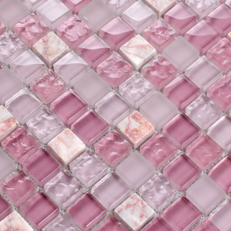 light purple stone and glass mosaic tile square bathroom wall decor