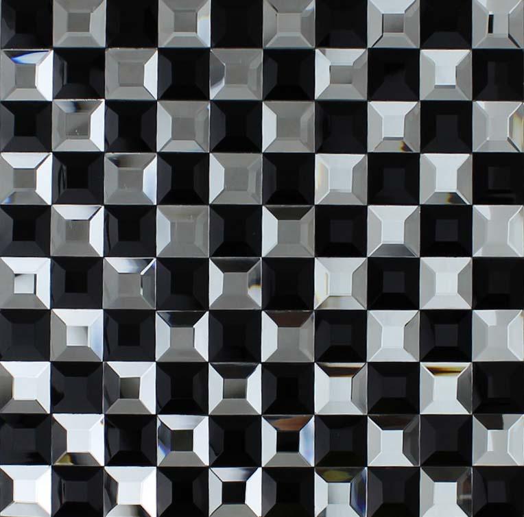 black and silver glass mosaic tile 3d pyramid crystal backsplash tiles