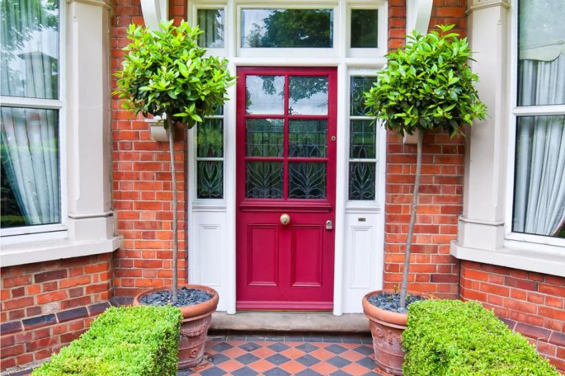 Classic Red and White Main Door