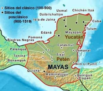 Ubicación de los Mayas