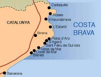 Costa Brava Espana Mapa.Mapa Costa Brava