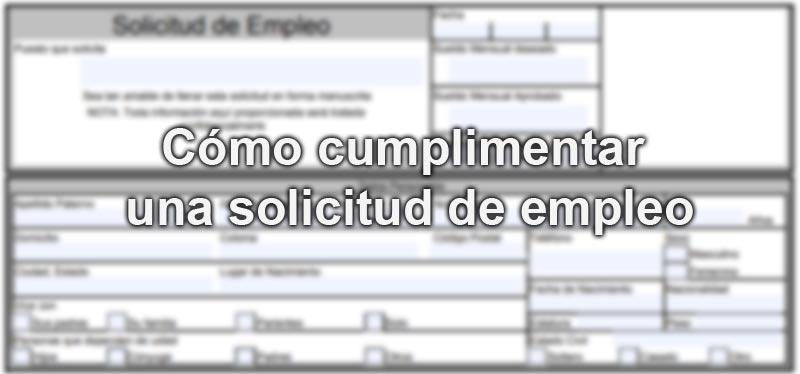Cómo cumplimentar solicitud de empleo