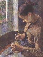 """Camille Pissarro: """"Giovane contadina che fa colazione"""""""