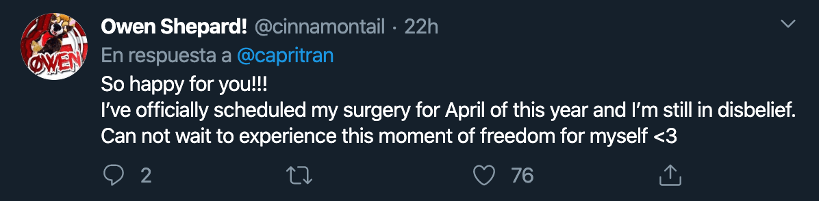 chico trans reacción mastectomía