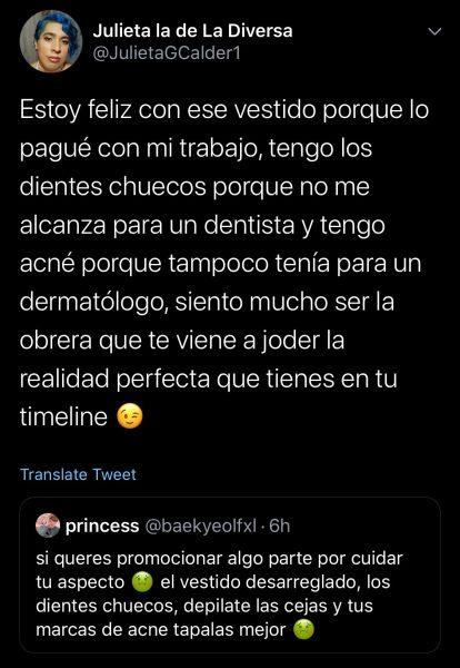 julieta respuesta Twitter