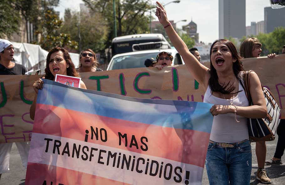 manifestación contra los transfeminicidios en México