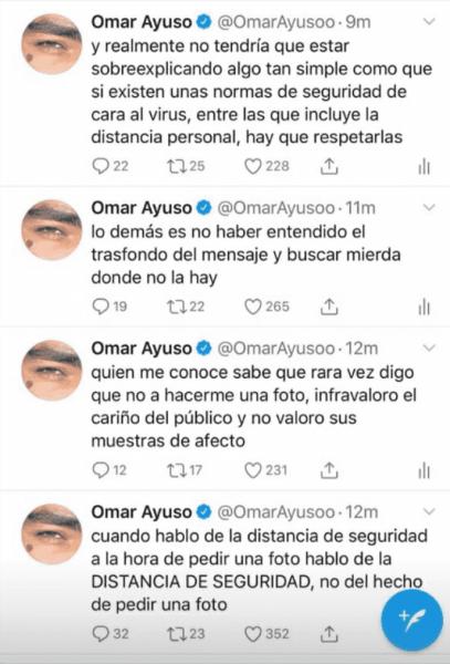 Omar Ayuso borra cuenta de Twitter