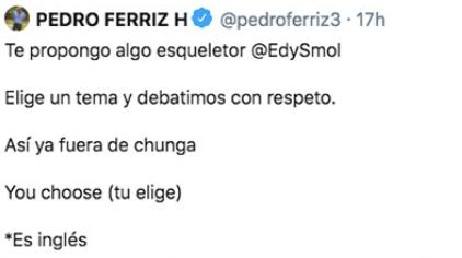 Publicación en Twitter