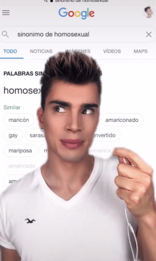 Video de TikTok informando sobre los sinónimos de 'homosexual' en Google.