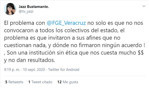 Tuit de Jazz Bustamante sobre el incumplimiento de los acuerdos con activistas LGBT+ por parte de la Fiscalía de Veracruz