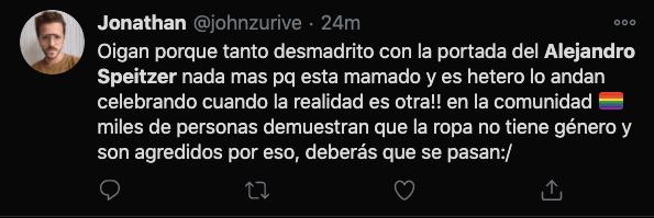 alejandro speitzer twitter critica comentario lgbt