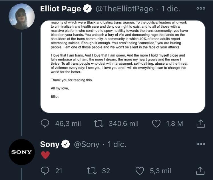 Sony corrige a usuario que no respetó los pronombres de Elliot Page
