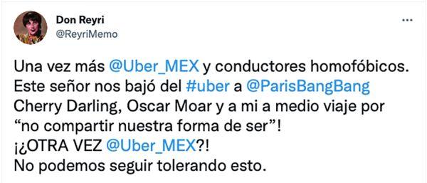 memo reyri homofobia conductor Uber