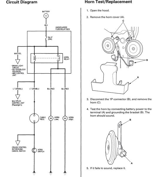 wiring diagram available for tracing horn wire  honda