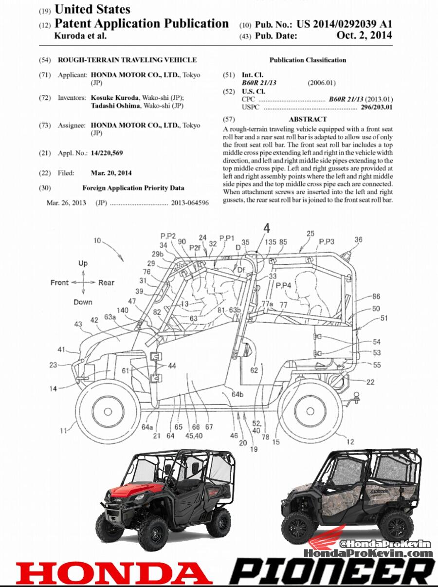 Honda Pioneer 5 Sxs Patent Application Documents