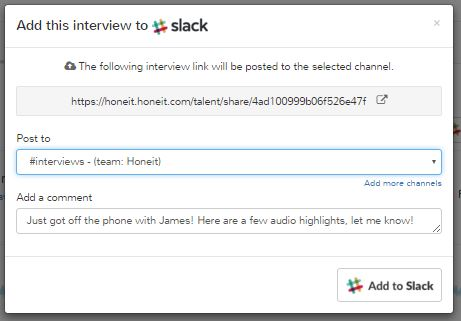 slack integration - share real-time candidate data and phone interview insights