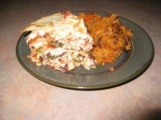 Serving southwestern tortilla pie