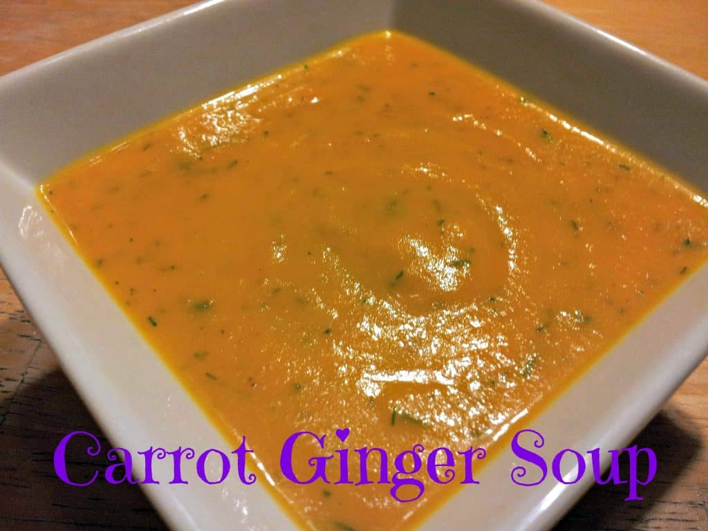 Bowl of healthy dairy free carrot ginger soupo