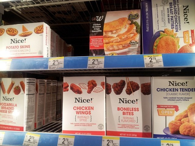 Selection of Nice! appetizers in the Walgreens cooler
