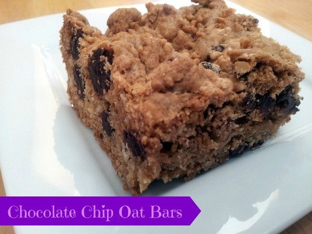 Chocolate Chip Oat Bar on a plate
