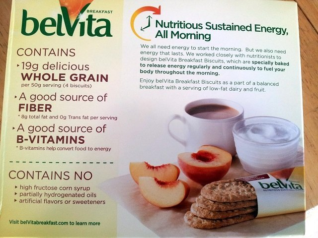 Back of a belVita breakfast biscuits box