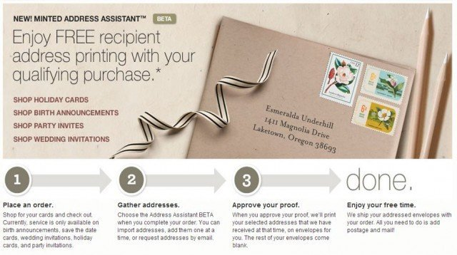Minted addresses your envelopes beta service