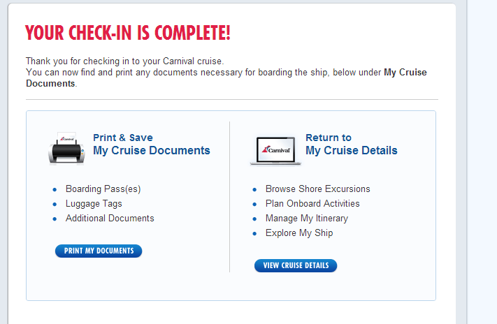 Completed checkin